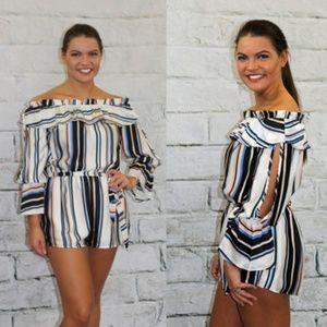 Dresses & Skirts - Black Stripe Off Shoulder Romper